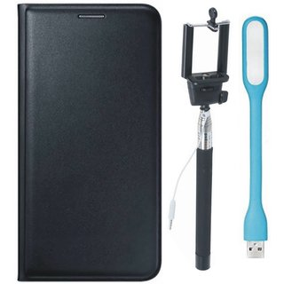 Moto C Leather Flip Cover with Selfie Stick and USB LED Light (Black) by Vivacious