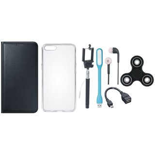 Moto C Cover with Spinner, Silicon Back Cover, Selfie Stick, Earphones, OTG Cable and USB LED Light (Black) by Vivacious
