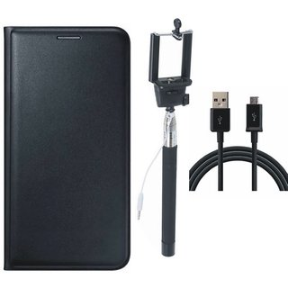 Moto C Flip Cover with Selfie Stick and USB Cable (Black) by Vivacious