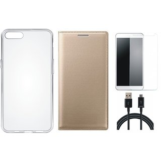 Moto C Flip Cover with Silicon Back Cover, Tempered Glass and USB Cable by Vivacious ( Gold )
