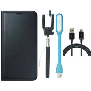 Moto C Premium Leather Cover with Selfie Stick, USB LED Light and USB Cable by Vivacious ( Black )