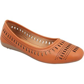 Moksh Traders Woman Faux Leather Brown Belly Shoe