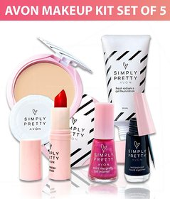 Avon Simply Pretty Complete Makeup Kit Set Of 5