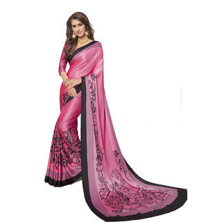 Vanishri Satin Italian Crepe Sarees With Digital Print
