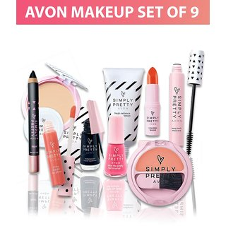 Avon Simply Pretty Complete Makeup Kit Set Of 9