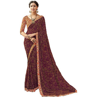 Laxmipati Dilbaro Printed Saree (Brown)