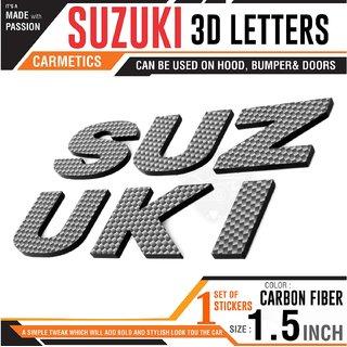 Carmetics SUZUKI 3d letters 3d stickers logo emblem styling accessories for Maruti Suzuki Swift 2018  1set  Carbon Fiber Finish