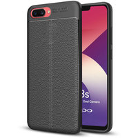 Hupshy Oppo A3S Cover / Oppo A3S Soft Silicone TPU Flexible Leather Texture Back Cover / Oppo A3S Back Case - Black