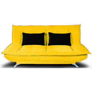 houzzcraft iris sofa cum bed in yellow