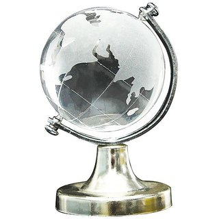 Crystal Glass Frosted World Globe Stand Paperweight Home Desk Wedding Decor