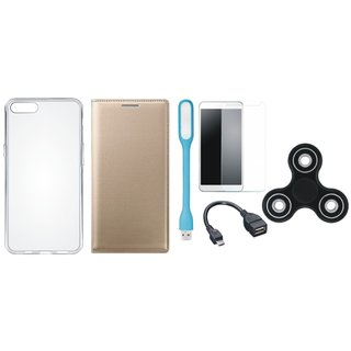 J7 Prime Flip Cover with Spinner, Silicon Back Cover, Tempered Glass, USB LED Light and OTG Cable by Vivacious ( Gold )