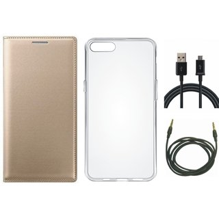 J7 Prime Premium Leather Cover with Silicon Back Cover, USB Cable and AUX Cable by Vivacious ( Gold )