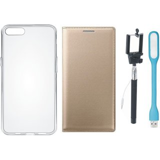 J7 Prime 2 Leather Flip Cover with Silicon Back Cover, Selfie Stick and USB LED Light (Gold ) by Vivacious