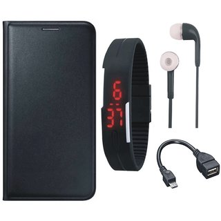 J7 Prime 2 Cover with Digital Watch, Earphones and OTG Cable (Black) by Vivacious