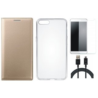 J7 Prime Premium Leather Cover with Silicon Back Cover, Tempered Glass and USB Cable by Vivacious ( Gold )