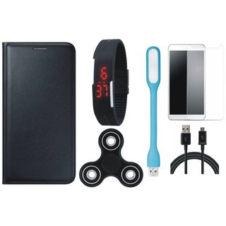 J7 Prime 2 Premium Leather Cover with Free Spinner, Digital LED Watch, Tempered Glass, LED Light and USB Cable by Vivacious ( Black )