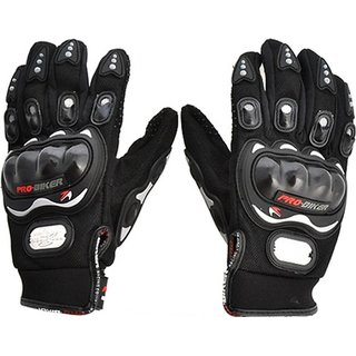 G-MTIN Pro Biker Gloves for Motor Cycle Bike Outdoor Sports Bicycle Cycling Racing Driving Riding - Full Finger Black Co