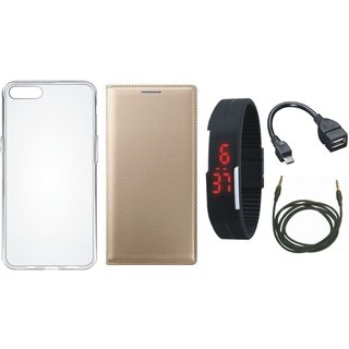 J7 Prime 2 Stylish Leather Cover with Silicon Back Cover, Digital Watch, OTG Cable and AUX Cable by Vivacious ( Gold )
