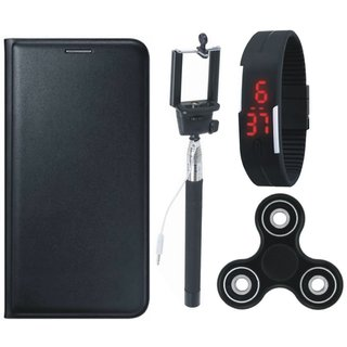 J7 Prime Premium Leather Cover with Spinner, Selfie Stick and Digtal Watch by Vivacious ( Black )