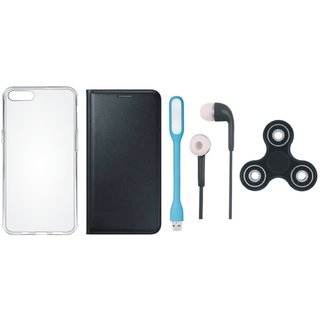 J7 Prime 2 Premium Leather Cover with Spinner, Silicon Back Cover, Earphones and USB LED Light by Vivacious ( Black )