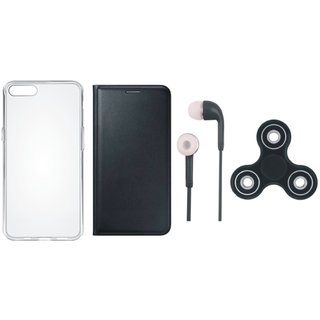 J7 Prime 2 Stylish Leather Cover with Spinner, Silicon Back Cover and Earphones by Vivacious ( Black )