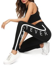 Code Yellow Women's Stretchable Black Side WHATEVER Printed Jeggings Yoga Gym Wear