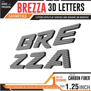 Carmetics Brezza 3d letters 3d stickers logo emblem styling accessories For Maruti Suzuki  1set  Carbon Fiber Finish