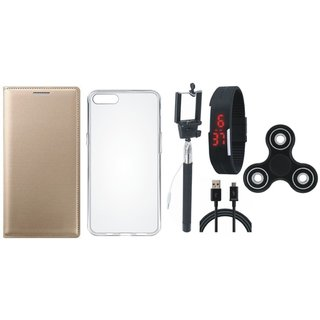 J7 Prime Stylish Leather Cover with Spinner, Silicon Back Cover, Selfie Stick, Digtal Watch and USB Cable by Vivacious ( Gold )