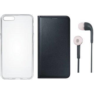 Redmi 5A Flip Cover with Silicon Back Cover and Earphones (Black) by Vivacious