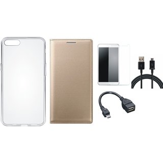 J7 Pro Premium Leather Cover with Silicon Back Cover, Tempered Glass, OTG Cable and USB Cable by Vivacious ( Gold )