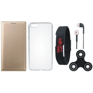 Redmi 5A Premium Leather Cover with Spinner, Silicon Back Cover, Digital Watch and Earphones by Vivacious ( Gold )