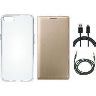 Redmi 5A Flip Cover with Silicon Back Cover, USB Cable and AUX Cable by Vivacious ( Gold )