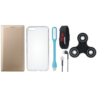 Redmi 5A Premium Leather Cover with Spinner, Silicon Back Cover, Digital Watch, Earphones and USB LED Light by Vivacious ( Gold )