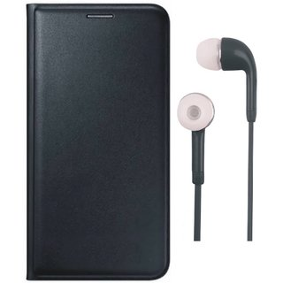 Redmi 5A Premium Leather Cover with Earphones by Vivacious ( Black )