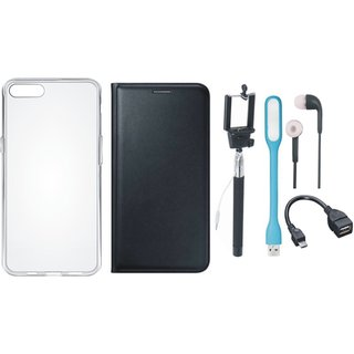 J7 Pro Stylish Leather Cover with Silicon Back Cover, Selfie Stick, Earphones, OTG Cable and USB LED Light by Vivacious ( Black )