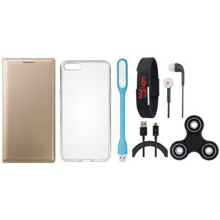 J7 Pro Premium Leather Cover with Spinner, Silicon Back Cover, Digital Watch, Earphones, USB LED Light and USB Cable by Vivacious ( Gold )
