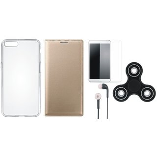 Redmi 5A Premium Leather Cover with Spinner, Silicon Back Cover, Tempered Glass and Earphones by Vivacious ( Gold )