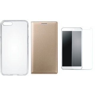 Redmi 5A Premium Leather Cover with Silicon Back Cover, Tempered Glass by Vivacious ( Gold )