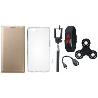 J7 Pro Premium Leather Cover with Spinner, Silicon Back Cover, Selfie Stick, Digtal Watch and OTG Cable by Vivacious ( Gold )