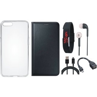 J7 Max Leather Flip Cover with Silicon Back Cover, Digital Watch, Earphones, OTG Cable and USB Cable (Black) by Vivacious
