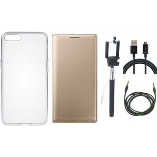 Redmi 5A Flip Cover with Silicon Back Cover, Selfie Stick, USB Cable and AUX Cable by Vivacious ( Gold )