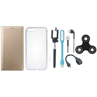 J7 Pro Flip Cover with Spinner, Silicon Back Cover, Selfie Stick, Earphones, OTG Cable and USB LED Light by Vivacious ( Gold )