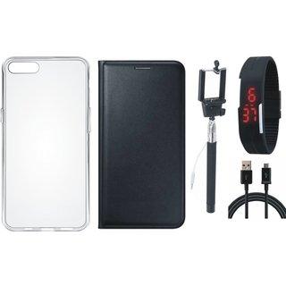 J7 Max Leather Flip Cover with Silicon Back Cover, Selfie Stick, Digtal Watch and USB Cable (Black) by Vivacious