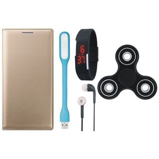 Redmi 5A Stylish Leather Cover with Spinner, Digital Watch, Earphones and USB LED Light by Vivacious ( Gold )