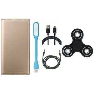 J7 Max Flip Cover with Spinner, USB LED Light, USB Cable and AUX Cable by Vivacious ( Gold )