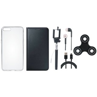 Oppo A71 Cover with Spinner, Silicon Back Cover, Selfie Stick, Earphones and USB Cable (Black) by Vivacious
