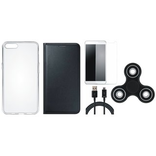 J7 Max Flip Cover with Spinner, Silicon Back Flip Cover, Tempered Glass and USB Cable (Black) by Vivacious
