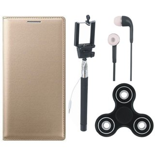 J7 Max Premium Leather Cover with Spinner, Selfie Stick and Earphones by Vivacious ( Gold )