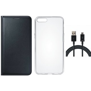 J7 Max Stylish Leather Cover with Silicon Back Cover, USB Cable by Vivacious ( Black )