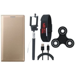 Oppo A71 Premium Leather Cover with Spinner, Selfie Stick, Digtal Watch and USB Cable (Gold ) by Vivacious